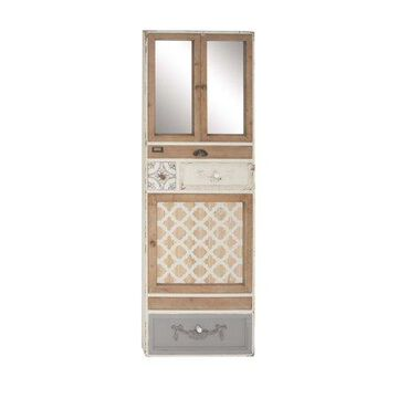 Decmode Rustic Wood And Mirror Cabinets And Drawers Framed Wall Decor, Beige