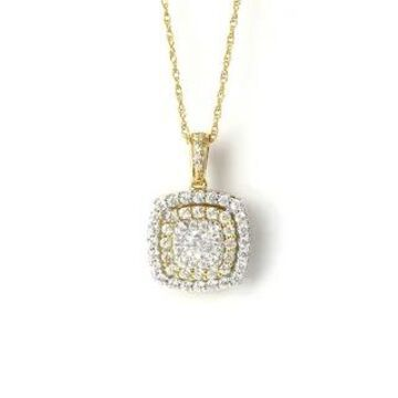 1/2ct TDW Diamond Halo Necklace Pendant in 10k Gold by De Couer (Yellow)