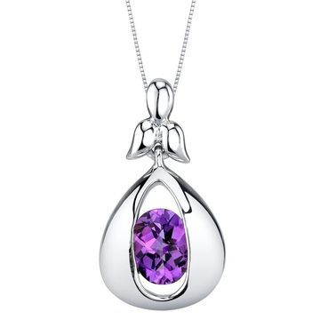 Oravo Amethyst Sterling Silver Cascade Pendant Necklace - Purple