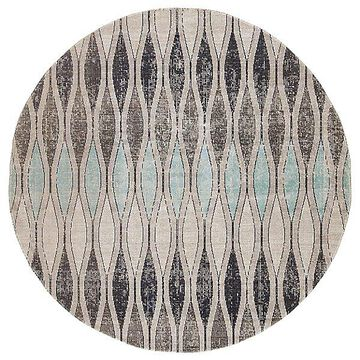 Norwich Indoor/Outdoor Round Area Rug by Jaipur - Color: Grey (RUG142718)