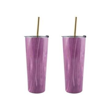 Thirstystone by Cambridge 24 Oz Geode Decal Stainless Steel Tumblers with Straw, Pack of 2
