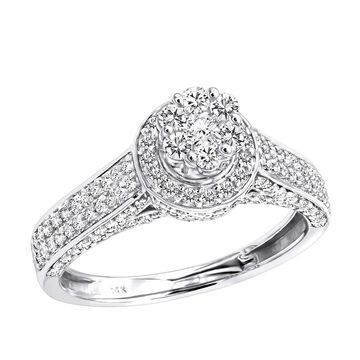 Affordable Cluster Diamond Engagement Ring for Women in 14k Gold by Luxurman