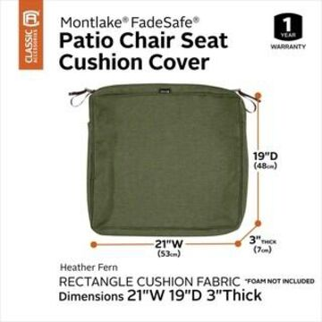 Classic Accessories Montlake Water-Resistant Patio Seat Cushion Slip Cover (21
