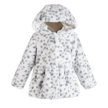 Baby Girls Hooded Animal-Print Fur Coat, Created for Macy's