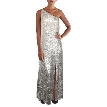 Xscape Womens Plus Cocktail Dress One Shoulder Leg Slit - Nude/Silver