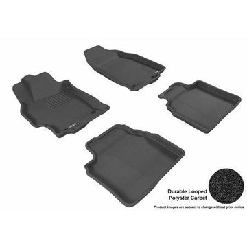 3D MAXpider 2009-2013 Mazda Mazda6 Front & Second Row Set All Weather Floor Liners in Black Carpet