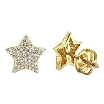 14k Gold Fully Iced Out Pave Diamond Star Earrings Studs 0.25ctw by Luxurman (Yellow)