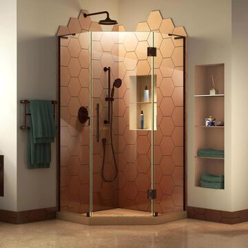 DreamLine Prism Plus 72-in H x 40-in W Frameless Hinged Oil Rubbed Bronze Shower Door (Clear Glass) Stainless Steel | SHEN-2640400-06