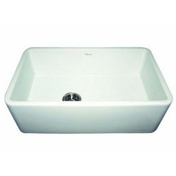 Whitehaus WH3018-WHITE Duet Reversible Fireclay Sink With Smooth Front Apron NEW