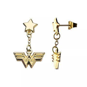 DC Comics Wonder Woman 1984 Stainless Steel Dangle Earrings, Women's, Gold