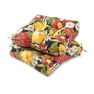 Aloha Floral 20 in. Plush Outdoor Chair Cushion, Set of 2