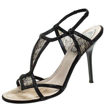 Rene Caovilla Black Lace And Satin Crystal Embellished Open Toe Slingback Sandals Size 37