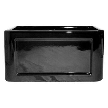 Whitehaus Reversible Series Fireclay Sink With Concave/Fluted Front Apron, Black