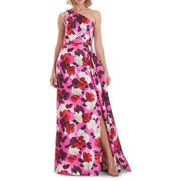 THEIA Floral One-Shoulder A-Line Side Slit Gown