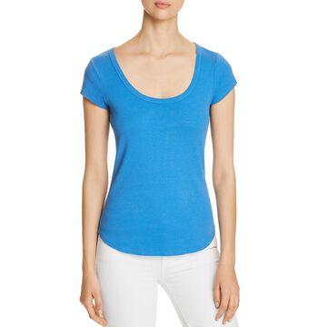 Three Dots Womens Cotton Scoop Neck T-Shirt
