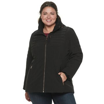 Plus Size ZeroXposur Quilted 4-Way Stretch Heavy Puffer Jacket
