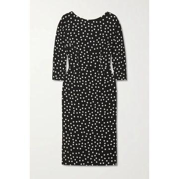 Dolce & Gabbana - Polka-dot Stretch-cady Midi Dress - Black