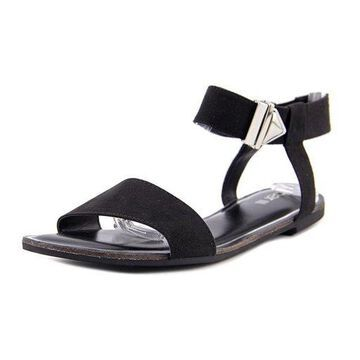 Bar III Womens Victor Fabric Open Toe Casual Ankle Strap, Black, Size 5.0
