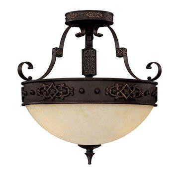 Capital Lighting 3603RI Semi-Flush Mount with Rust Scavo Glass Shades, Rustic