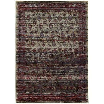 Distressed Border Panel Multi/Red Area Rug - 3'3