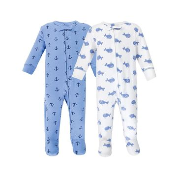 Hudson Baby Boys' Footies Blue - Blue Whales Footie Set - Newborn
