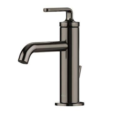 Kraus Gunmetal 1-Handle Single Hole WaterSense Bathroom Sink Faucet with Drain