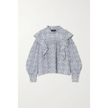 Isabel Marant - Barida Ruffled Paisley-print Silk Crepe De Chine Blouse - Blue