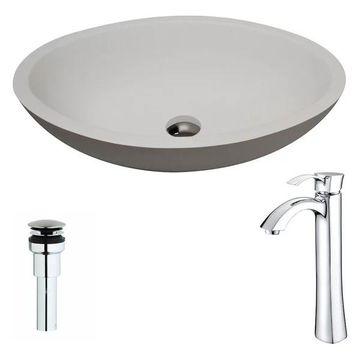 ANZZI Maine Series ANZZI Stone Vessel Sink w/ Harmony Faucet, Polished