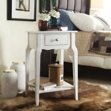 Daniella 1-Drawer Wood Storage Accent End Table by iNSPIRE Q Bold - End Table (White)