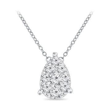 Auriya 14k Gold 3/8ct TDW Pear Shaped Pave Diamond Necklace by Auriya (White)
