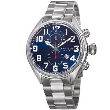 Akribos XXIV Men's Quartz Chronograph Stainless Steel Blue Bracelet Watch (Blue)