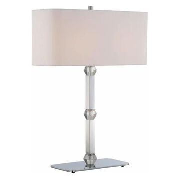 Lite Source Cairo 2-Light Table Lamp, Chrome w/ Crystal, White Fabric