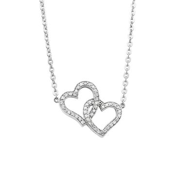 Sterling Silver 1/5ct. TDW Diamond Double Heart Necklace by Beverly Hills Charm