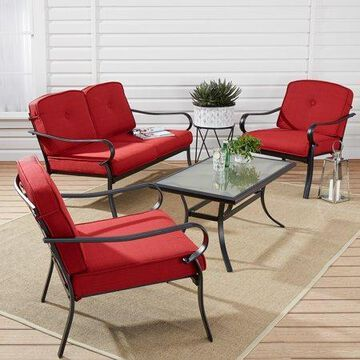 Mainstays Carson Creek 4-Piece Patio Loveseat Set with Red Cushions