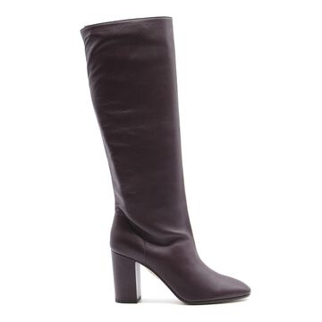 Aquazzura Boogie Boots In Plum Nappa