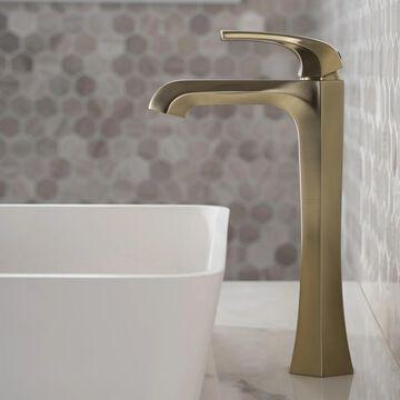 KRAUS Esta Single Handle 1-Hole Vessel Bathroom Faucet w/ Pop Up Drain (As Is Item)
