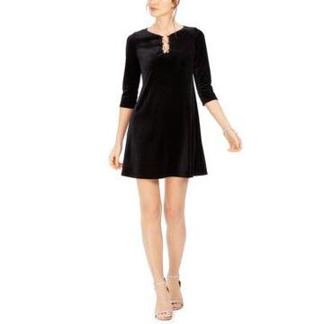Msk Petite Three-Ring Velvet Dress