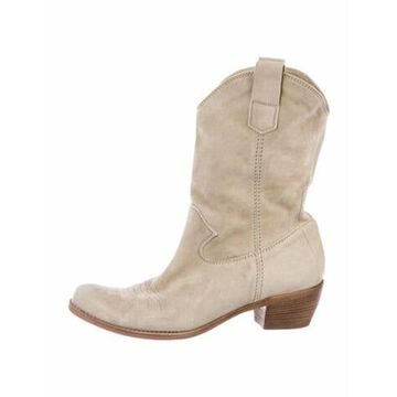 Suede Embroidered Accent Western Boots