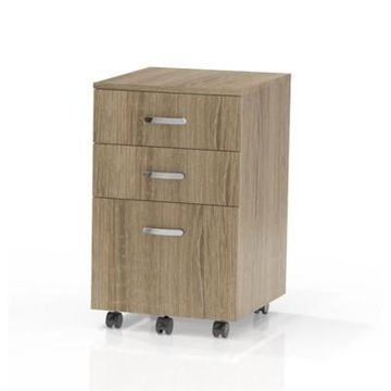 Glass Soho Mobile Filing Cabinet in Natural Brown-Mayline