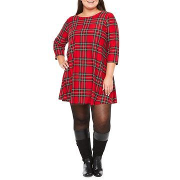 City Streets 3/4 Sleeve Holiday Swing Dresses-Plus