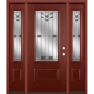 Masonite Frontier 64-in x 80-in Fiberglass 3/4 Lite Left-Hand Inswing Wineberry Stained Prehung Single Front Door with Sidelights with Brickmould
