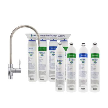 Tier1 4-Stage Hollow Fiber Drinking Water Filter System PLUS Quick Change Replacement Filter Set