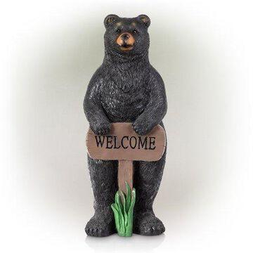 Alpine Welcome Sign Bear Garden Statue, 36 inch Tall
