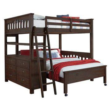 NE Kids Highlands Twin Over Full Bunk Bed in Espresso