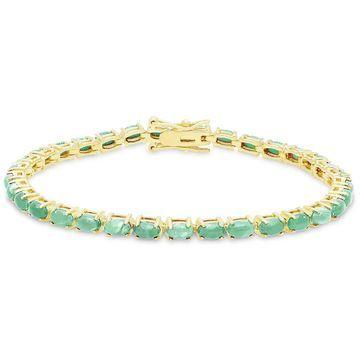 Dolce Giavonna Gold Over Silver Emerald Tennis Bracelet
