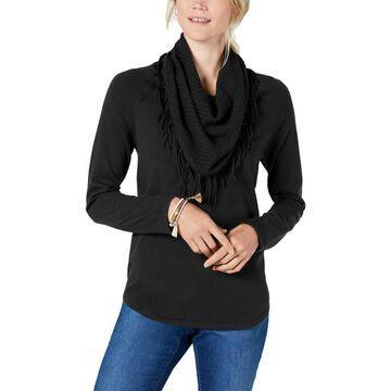 Style & Co. Womens Cowl-Neck Fringe Sweater