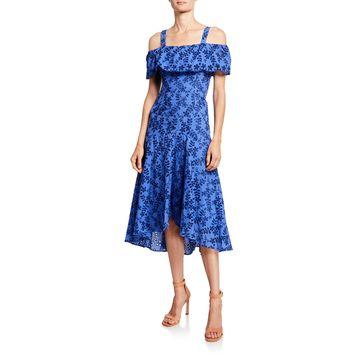 Cold-Shoulder Floral Embroidered High-Low Dress