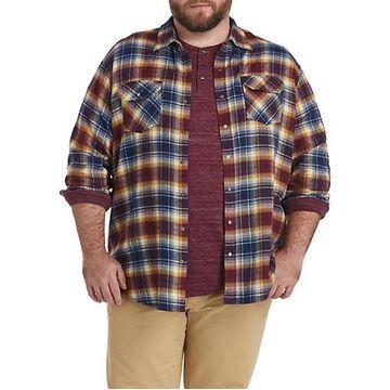 Big & Tall Harbor Bay Large Plaid Flannel Sport Shirt - Riviera Blue