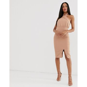 Vesper high neck pencil dress-Pink