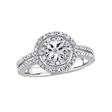 Miabella 1/5 Carat T.W. Diamond Sterling Silver Double Halo Split Shank Engagement Ring
